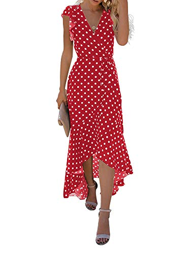 GRECERELLE Women's Summer Floral Print Cross V Neck Dress Bohemian Flowy Long Maxi Dresses PD-Red-S