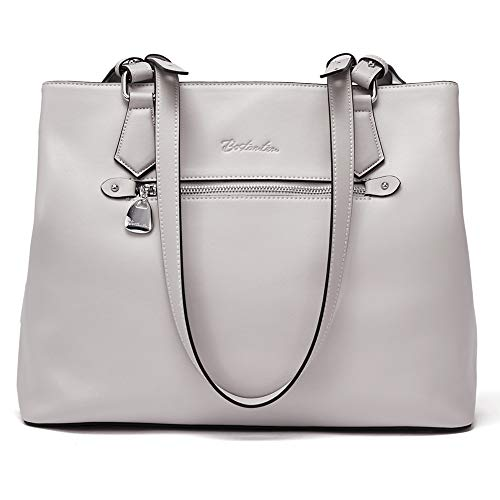 BOSTANTEN Women Leather Handbag Long Top-handle Purses Designer Shoulder Bags Gray