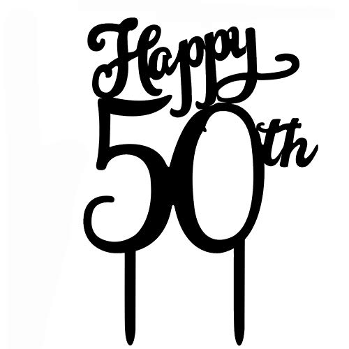 Acrylic Cake Topper 50th Wedding Anniversary Birthday Party Company's 50th Anniversary Party Cake Decoration (Happy 50th) ()