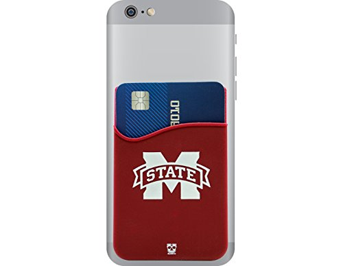 Mississippi State Bulldogs Team Glass - Mississippi State Bulldogs Adhesive Cell Phone Wallet/Card Holder for iPhone, Android, Samsung Galaxy, Most Smartphones