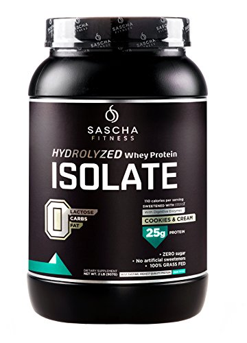 Sascha Fitness Hydrolyzed Whey Protein Isolate,100% Grass-Fed (2 Pounds, Cookies & Cream)