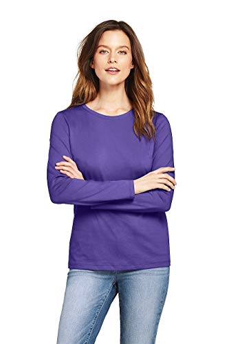 Lands' End Women's Petite Supima Cotton Long Sleeve T-Shirt - Relaxed Crewneck, M, Ultra Violet