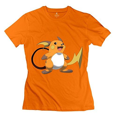 MKSD Pokemon Raichu Women Design T-shirts Orange