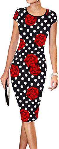 LunaJany Women's Floral Print Print Sexy Wear to Work Office Career Sheath Midi Dress S Black Red