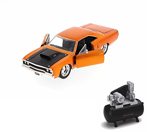 mpressor Package - Fast & Furious Dom's Plymouth Road Runner Hard Top, Copper - JADA 97127 - 1/24 Scale Diecast Model Toy Car w/Air Compressor ()