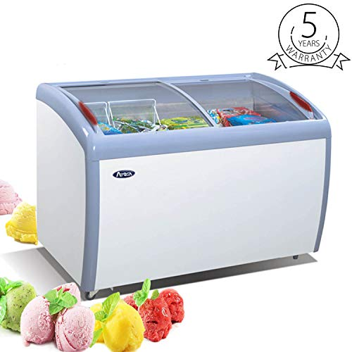 50″ Chest Freezer Glass Sliding Top – Atosa 12.7 Cu.Ft Deep Commercial Ice Cream Freezer with 2 Removable Storage Baskets, Adjustable Thermostat, Lock,Rollers (White)