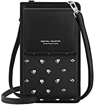 MoKo Cellphone Bag, PU Leather Printed Crossbody Phone Pouch Purse Wallet Sleeve with Shoulder Strap Compatibl