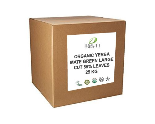 Yerba Mate Green Large Cut 85% Raw Leaves - USDA Certified Organic Bulk Wholesale Herbal Supplements by Royal Life Essentials