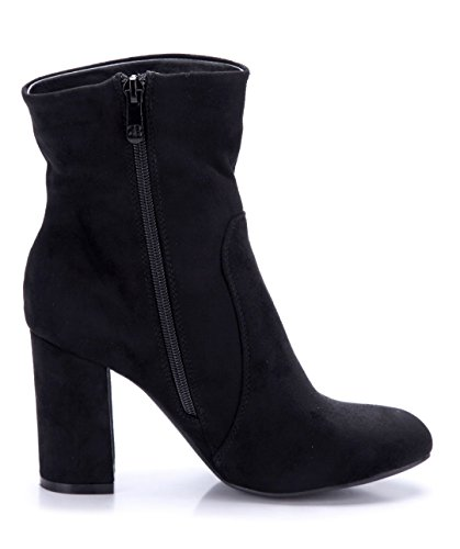 Schuhtempel24 Damen Schuhe Klassische Stiefeletten Stiefel Boots Blockabsatz Blumenapplikation 9 cm Schwarz