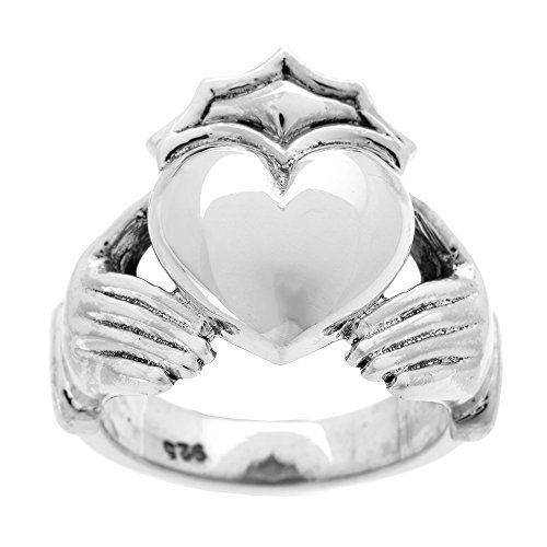 Sterling Silver Bold Heavy Men's Claddagh Ring(Size 9.5)