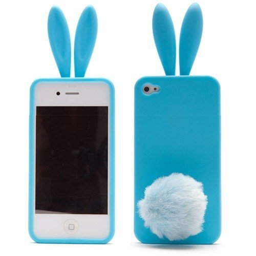 new product 81478 85980 Cute Rabbit Silicone Bunny Case For iPhone 4S with Furry Tail - Blue (Tail  is a Stander, not attached on the case)