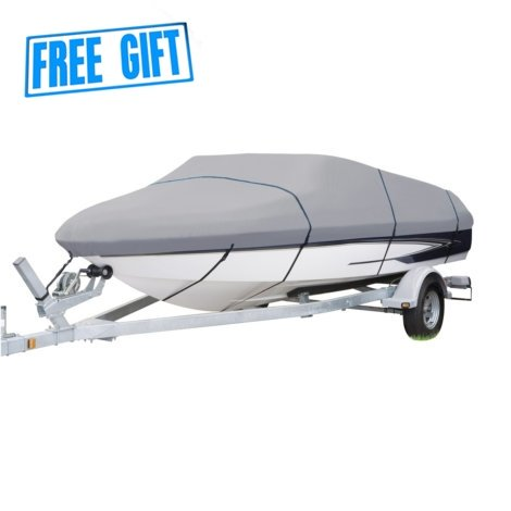 CoversMarket Boat Cover Heavy Duty 600D Marine Grade Polyester Canvas Trailerable Waterproof, Color Grey, Fits V-Hull, Tri-Hull, Runabout Boat Cover, Full Size Boat Cover (20`-22`L up to 102`W)