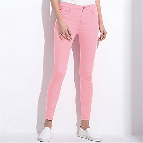 [Judith Aponte Women's Candy Pants Pencil Trousers NEW Spring Fall Khaki Stretch Pants For Women Slim Ladies Jean Trousers Female Pink] (Western Day Dress Up Ideas)