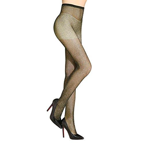 Lurex Gold Tights (K.T. Fancy Women's Sexy Net Pantyhose 2 Packs High Waist Tight Sparkle Fishnet Stockings)