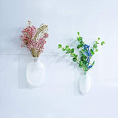 Silicone Sticky Vase, Coxeer Reusable Wall-Mounted Flower Pots Indoor Drilling-Free Hanging Decorative Flower Vase: Garden & Outdoor