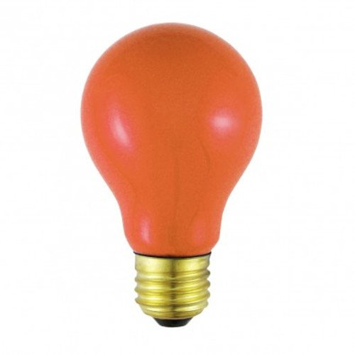 Norman Lamps 25A19/COx15 A19 Ceramic Orange Light Bulb, 25W, 120V (Pack of 15) -