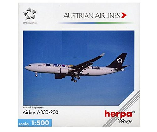 Herpa 508384 Austrian Airlines Airbus A330-200 1:500 Scale Star Alliance OE-LAO Diecast