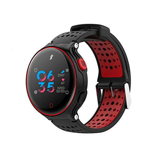 Fitness Activity Tracker Watch IP68 Waterproof Sports Stylish Bracelet with Metal Mesh Strap for All Day Activity and Auto Sleep Tracking Pedometer with APP Support for iOS/Android (Black-red) by Parnerme