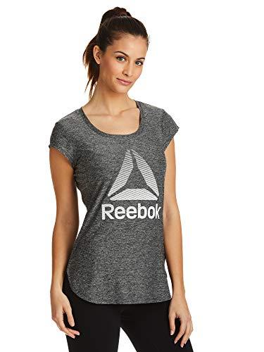 Reebok Women's Legend Performance Top Short Sleeve T-Shirt - Legend Black Night Heather, Small