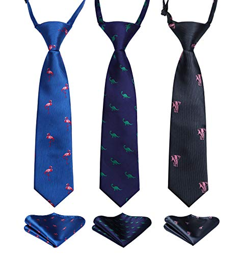 Enlision 3pcs Boys Pre-Tied Neckties & Pocket Square Set Neck Strap Tie for Kids Blue/Navy Blue/Black ()