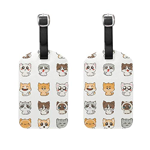 Set of 2 Luggage Tags Cartoon Cats Dogs Suitcase Labels Trav