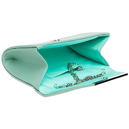 Elegant TA419 Metal Decor Evening CASPAR XL for Women Mint Clutch Bag with Envelope T65qO15wa
