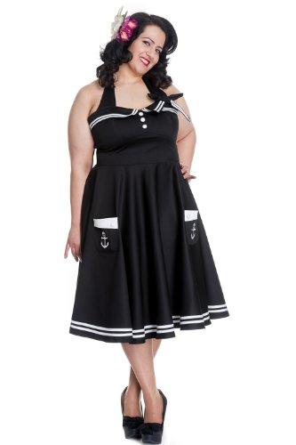 Hell-Bunny-Plus-Size-Gothic-Black-Motley-50s-Rockabilly-Nautical-Skull-Dress
