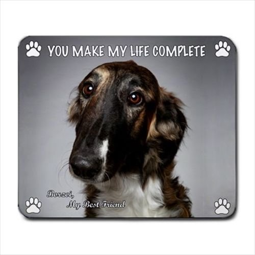 New Design Cute BORZOI RUSSIAN WOLFHOUND Dog Puppy Rubber Computer MOUSE PAD Mat