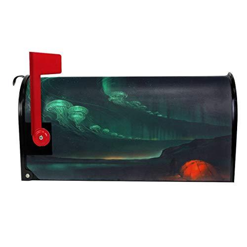 VIVIAN RICE Vinyl Magnetic Mailbox Cover Sky Jellyfish Art Wraps Post Letter Box Covers Garden Decor,Standard Size