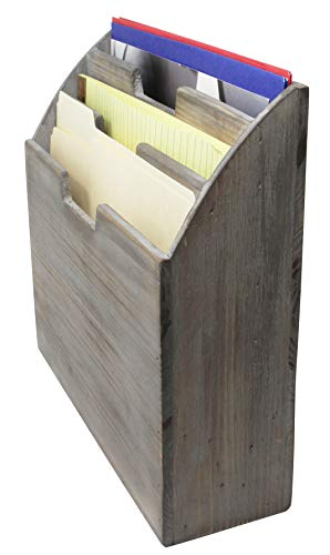 Vintage Rustic Wooden Office Desk Organizer & Vertical Paper File Holder For Desktop, Tabletop, or Counter - Distressed Torched Wood – For Mail, Envelopes, Mailing Supplies, Magazines, or File Folders by Executive Office Solutions (Image #2)'