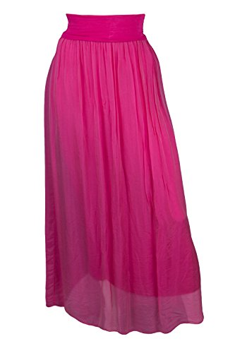 Rock Damen Lang Maxirock 2lagig Lagenlook Pink Neu Sexy Seide 38 40 42 44  AgyvmkoNdU fdb927a454