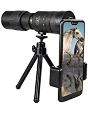 4k 10-300x40MM Super Telephoto Zoom Monocular Telescope-Handheld Smartphone with Tripod and Clip-Waterproof, Fogproof, High Definition Stylish Monocular for Bird Watching/Hunting/Camping/Travelling/
