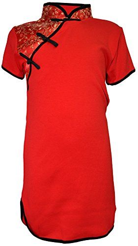 Amazing Grace Girls' Chinese Collar Traditional Cotton Qipao Dress (Small, Red Brocade)