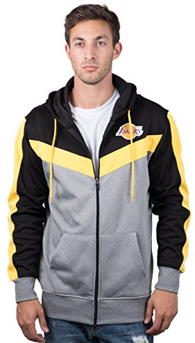 Los Angeles Lakers Men's Full Zip Hoodie Sweatshirt Jacket Back Cut, Medium, Black