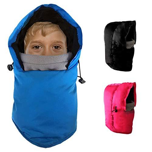 Winter Hats Kids Ski Mask Balaclava Hood Boys Girls Toddler Women Windproof, Cold Weather Thermal Fleece Face Cover Cap Ear Flaps Helmet, Snowboard Cycling School Bike Black Blue (Black(Age2-6), S)