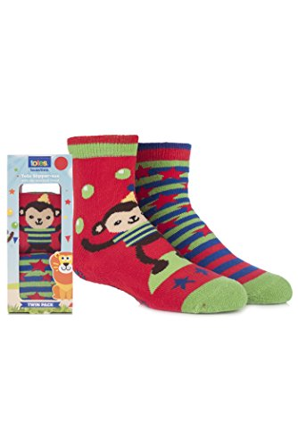 Totes Circus Monkey Slipper Socks