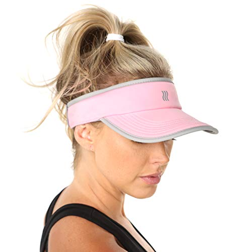 (SAAKA Women's Super Absorbent Visor. Best for Tennis, Golf, Running & All Sports. (Pink))