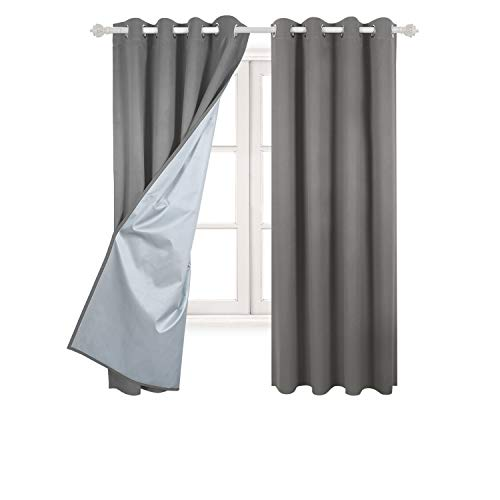 Deconovo Blackout Curtains Pair Grommet Curtains with Backside Silver for Baby Bedroom 52W x 72L inch Light Grey 2 Panels