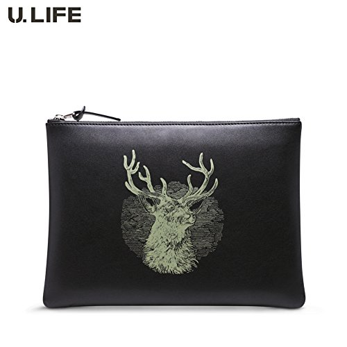 U.LIFE Men's Genuine Leather Business Clutch Wrist Bag Handbag Organizer (S1001 Black) by U-Life