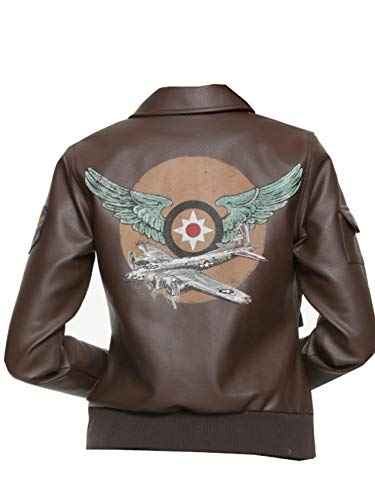 Womens Captain Marvel Cosplay Faux Leather Aviator Jacket -