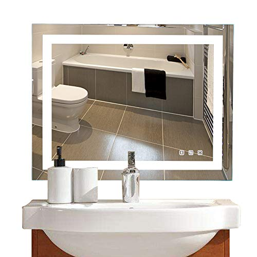 36×28in. Dimmable Led Illuminated Bathroom Mirror Led Lighted Wall Mounted Bathroom Vanity - Clock Mirrors With Bathroom Vanity Lights And