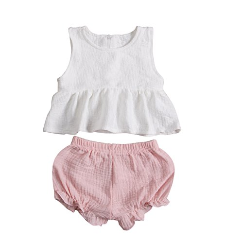 (2 PC Baby Girl Clothes Outfits Set Ruffle T-Shirt Vest Tank Top + Short Pants Bloomer Sunsuit (18-24 Months,)