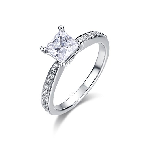 4-Prong Set 1.0 CT Princess brilliant Cut Simulated Diamond CZ Solitaire Engagement Wedding Ring Rhodium Plated Sterling Silver , 2.16 CTW (5.5) (Rhodium Plated Sterling Silver Band)