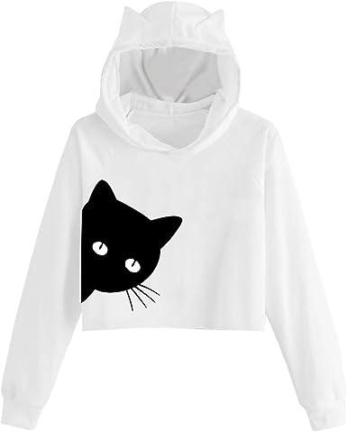 Auifor Sudadera con Capucha de Manga Larga con Estampado de Gatos para Mujer Sudadera con Capucha Tops Blusa: Amazon.es: Ropa y accesorios