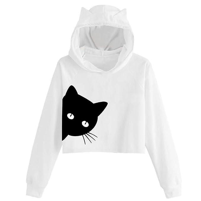 Auifor Sudadera con Capucha de Manga Larga con Estampado de Gatos para Mujer Sudadera con Capucha Tops Blusa