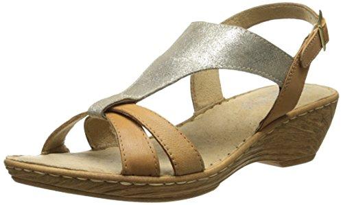 Bella Vita Made in Italy Womens Gubbio Wedge Sandal Gold/Tan