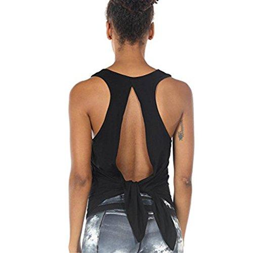 Keepfit Sexy Yoga Tops Racerback Tank Top Sport Backless Sleeveless Blouse Tie Back Vest Blouse for Women Girls (XL, Black) ()