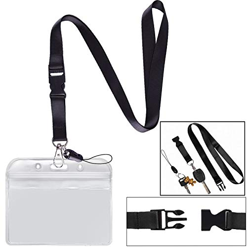 (Lanyard with Badge Holder Black Neck Strap Detachable Buckle Breakaway Quick Release Safety Lanyard with Horizontal id Name Tag Card Holders Zipper Waterproof Resealable Clear Plastic Pack of 1)