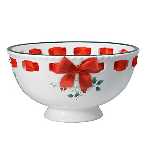 - Pfaltzgraff Winterberry Footed Bowl with Ribbon
