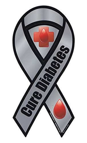 Magnetic Bumper Sticker - Diabetes Awareness - Ribbon Shaped Support Magnet - 4